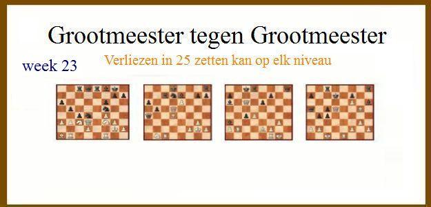 Grootmeester tegen Grootmeester (maar verloren in 25 zetten) wk23