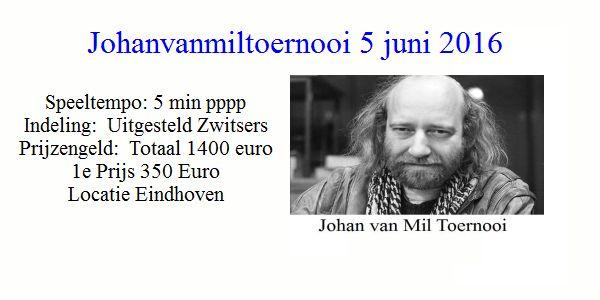 Johanvanmiltoernooi snelschaken: 5 juni 2016