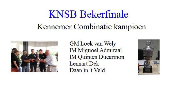 KNSB Bekerfinale: Kennemer Combinatie kampioen
