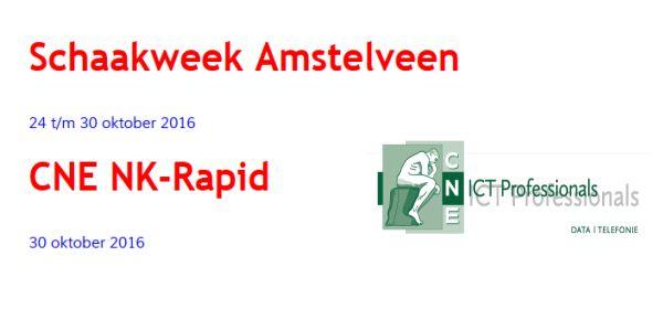 Schaakweek Amstelveen: 24 t/m zondag 30 oktober 2016